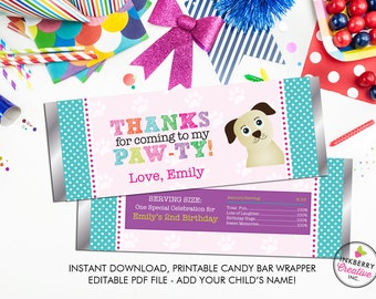Girls' Puppy Paw-ty - Printable Candy Bar Favor Wrappers - Editable PDF Print File