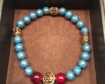 Teal and Burgundy bead bracelet