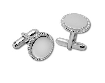 Sterling Silver Round Cuff Links - GM1013