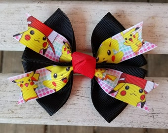 Pokemon Pikachu Black/Red Hair Bow (4 inch).