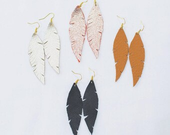 Hand Cut Leather Feather Earrings - Black Feather Earrings - Gold Dangle Feather - Camel Leather Feather - Rose Gold Feather Earrings