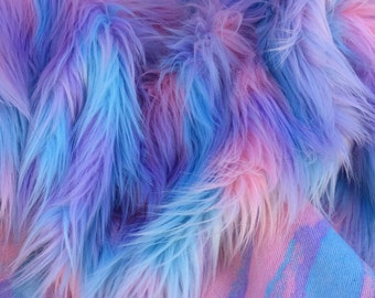 Pastel Puff -  quality pink blue and purple long pile fluffy synthetic fur fabric -1m piece
