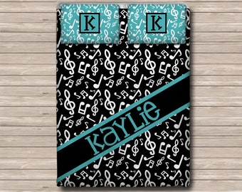 REVERSIBLE Personalized Monogram  Soft Duvet Cover OR Comforter - Toddler, Twin, Twin xl, Queen, or King - Music Notes