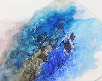 watercolor, one piece, unique piece, best gift, wedding present, for best friend, precious gift, art lovers, undersea, underwater, sealovers
