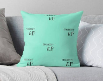 Feminist AF quote teal throw cushion - cushion - motivational quote - teal cushion - inspo quote - Inspirational - As F**k quote - Feminism