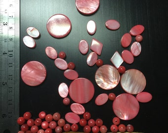 Coral mother of pearl beads mixed lot