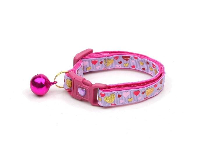 Valentines Day Cat Collar - Raining Hearts on Purple - Kitten or Large Size