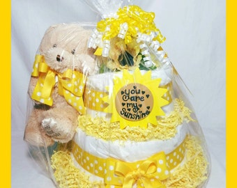 You Are My Sunshine Diaper Cakes| Sunshine Baby Gifts| Diaper Cakes| Yellow Baby Gifts| Teddy Bear Diaper Cake| Baby Shower Cakes| Cakes