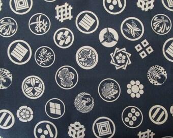 Fat quarter fabric Japanese kamon motifs black 45 x 55 cm