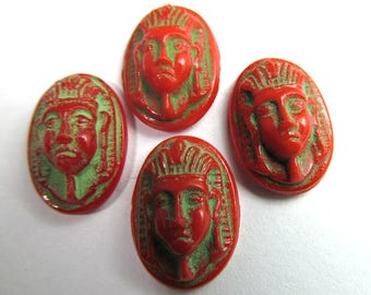 6 Vintage Egyptian Revival-Style Motif Antiqued Coral-Red and Green Oval Glass Cabochon Cb119