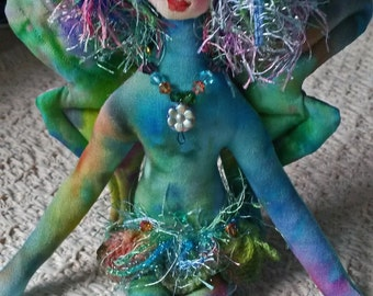 Sweet rainbow butterfly fairy, fiber sculpted art doll