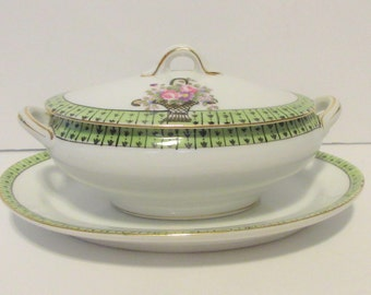 Antique Noritake Children's China Serving Dish with Platter Green and White with Floral Trim Doll's Playtime