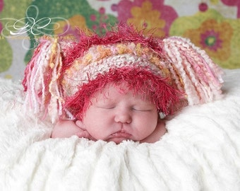 Crocheted Jester Hat For Newborn Baby in Pink and Peach Accents on White and Pink Yarn, Photography Prop