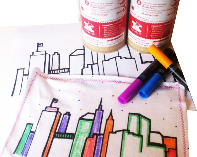 NYC skyline Paint your own t shirt -  FREE shipping