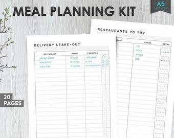 Meal Planner, Weekly Meal Planner, Menu Planner, A5 Planner Inserts, Grocery List Pdf, Grocery List, Meal Plan Printable, Menu Plan