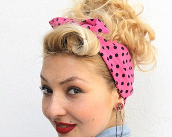 Pink Spotty Vintage Style 1950s Head Scarf / Hair tie