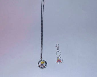 Rainbow Brite Handmade Vintage Style Necklace & Keychain Set