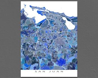 San Juan Map Print, San Juan Puerto Rico Map Art, Caribbean Island Artwork