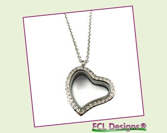 CZ Silver Curved Heart Floating Charm Locket Necklace