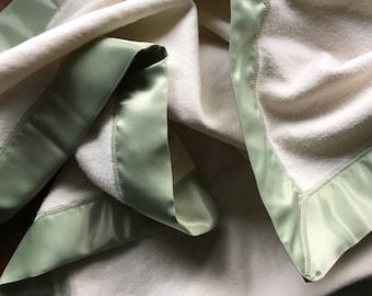 Organic Cotton Fleece Baby Blanket with Sage Green Satin Trim, Baby Blanket, Satin Lovey