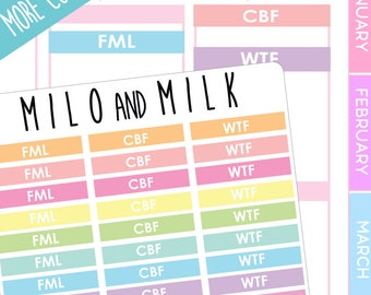 WTF, FML, CBF Header Stickers   Planner Stickers