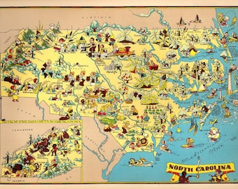 1930's Vintage North Carolina Picture Map State Cartoon Map Print Gallery Wall Art Decor Map Collector Gift for Traveler Wedding Birthday RT