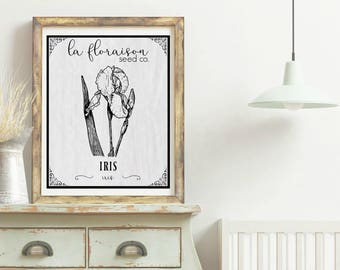 French Cottage Style Seed Packet Printable - Iris