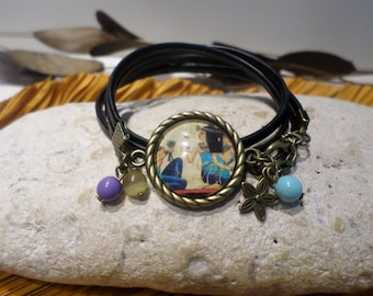 "Bracelet cabochon ""papyrus from Egypt - Cleopatra"" beige blue leather jewelry original gift women teenager"