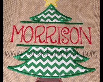 Split Christmas tree applique design 3 sizes INSTANT DOWNLOAD