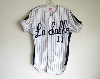 Vintage 80's La Salle Uninversity Explorers pinstripe baseball jersey by Wilson | 38 (tag size) Small (fit) | Made in USA