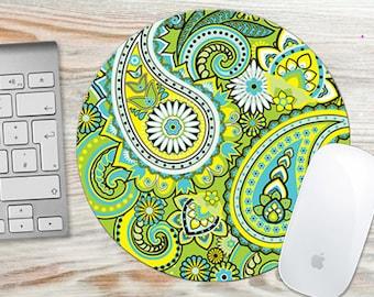 Custom Mousepad, Mouse Pad Lime Green Paisley, Custom Mouse Mat, Desk Mouse Pad, Computer Mouse Pad, Computer Mouse Mat  7065