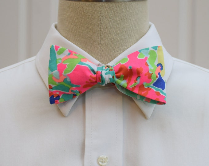 Men's Bow Tie, Casa Banana tropical bright multi Lilly bow tie, prom bow tie, wedding bow tie, Carolina Cup, Kentucky Derby, preppy bow tie