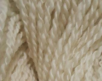 Lot 96, Natural Creamy White DK Handspun yarn - Cormo x Lincoln x Merino x Wensleydale wool