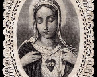 Lace Holy Prayer Card / Virgin Mary / Sacred Heart of Mary / Madonna Prayer Card / 3 sizes/ Digital Paper Instant Download/ Vintage Ephemera