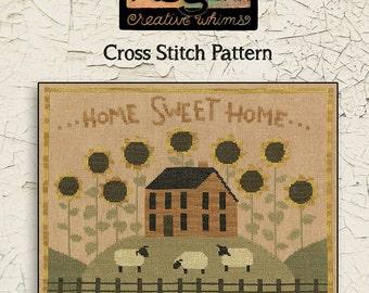 Cross Stitch Chart | Downloadable PDF | EPattern | Needlework | DIY | Crafts | Primitive | Sunflower House | XS086