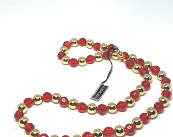 Red and Gold Lucite Bead Vintage Necklace