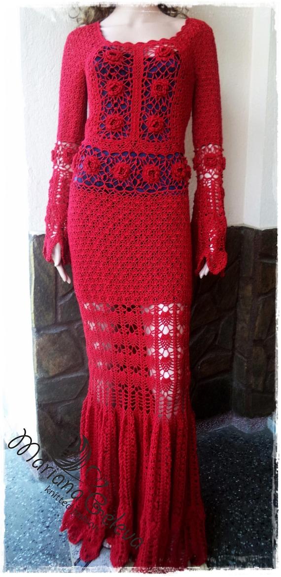 Elegant dress crocheted in red. Long granny dress for woman.