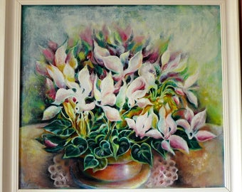 Oil Painting on Canvas Abstract Flower in Pot Retreat Original Handmade Wall Decoration