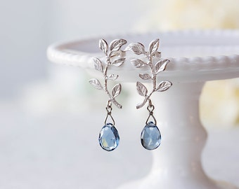 Silver Leaf Branch Post Earrings, Navy Blue Sapphire September Birthstone, London Blue Quartz, Gift for Mom Wife, Mothers day Gift
