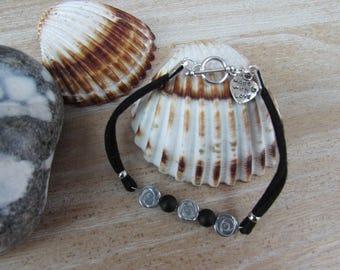"Silver, Black Suede double cord, natural stone bracelet ""Kitten"""