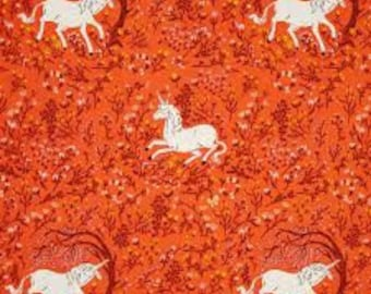 Heather Ross Far Far Away Windham fabrics Unicorn orange FQ or more OOP HTF