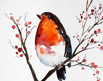 ORIGINAL Watercolor Bird Painting, Red Robin Bird with Berries, Christmas Illustration 6x8 Inch