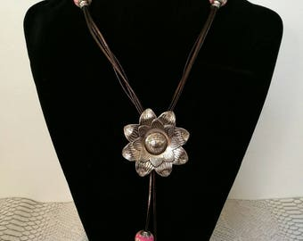 Brown leather, flower pendant necklace and pink European beads