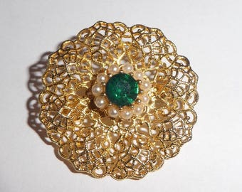 Vintage Filigree Gold Plated Brooch or Pin with green stone
