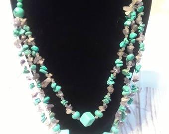 "Turquoise Howlite/Lavender Crystal Strand Multi-Strand Necklace 24"""