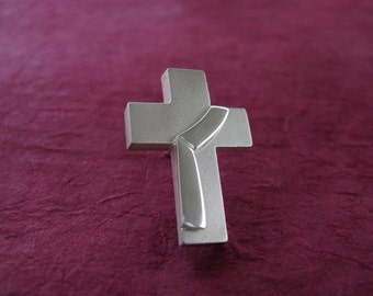 Deacon Cross Lapel Pin, Sterling Deacon Lapel Tac, Deacon Stole riveted to Cross, Diaconate Gifts, from our Spiritus Christian Jewelry