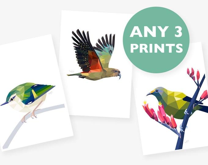 Set of 3 A4 prints, Any 3 prints, Print set, Geometric animal art, Baby room art, Nursery art, New Zealand art, Kea print, Bird illustration