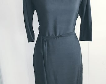 Vintage 1950's Black Rayon Crepe Dress with Inset Pleated Neckline and Skirt -- Size M-L