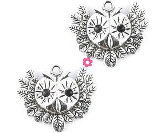 x 2 (82D) 35x31mm silver OWL head pendant