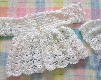 Baby CROCHET PATTERN - Scallop Matinee Jacket and Bonnet - 16 - 20 ins 3 ply